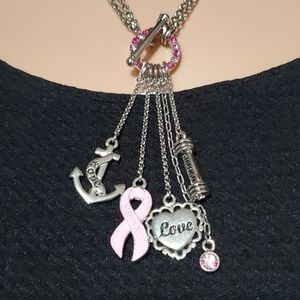 NWT - Cookie Lee Breast Cancer Charm Necklace